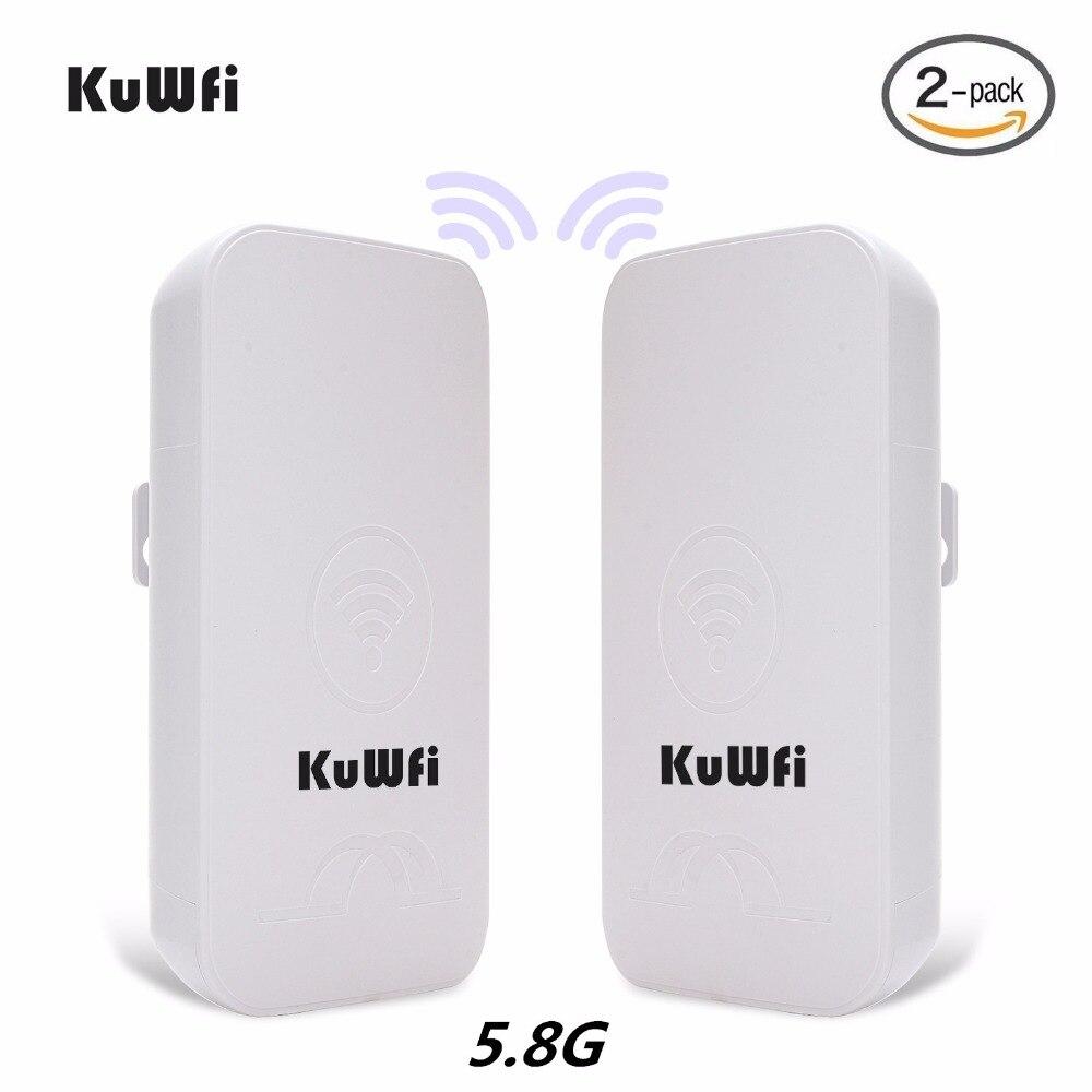 2 piezas KuWFi 1-3 km 300 Mbps CPE exterior enrutador 5g punto de acceso inalámbrico Router Wifi puente wi-fi Extender CPE Router con 24 V POE