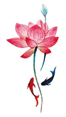 Waterproof temporary fake tattoo stickers red lotus flowers fish waterproof temporary fake tattoo stickers red lotus flowers fish classic design body art make up tools in temporary tattoos from beauty health on mightylinksfo