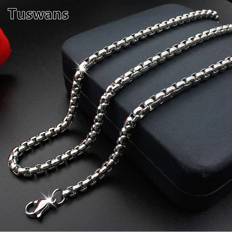 316L Stainless Steel Chain Necklace 2.5mm/3mm/4mm Width Box Square Pearl Link Chain Men Necklace Jewelry Diy 50/55/60/65/70cm