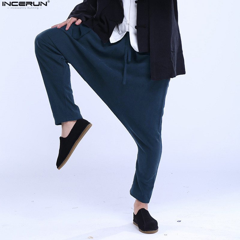 INCERUN Men Harem Pants 2019 Casual Chinese Style Pockets Trousers Drop Crotch Solid Male Cotton Retro Fashion Pants Plus Size