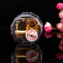 New Hand Cranked Type Gold Multi-angle music box mini acrylic music box birthday gift