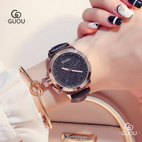 GUOU Left Crown Women's Watch With Rhinestone Leather Strap Band Rose Gold Case Water Resident Ladies Quartz Wristwatch 8181