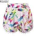 Zanzea Moda 2016 Estilo Verão Mulheres Impresso Floral Pom Pom Hem Shorts de Cintura Alta Borla Casuais Calções Quentes Plus Size