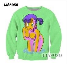 LIASOSO Dragon Ball Z bluza 3D drukuj dziewczyna Anime Sexy Loli Bulma bluza Z długim rękawem kobiety mężczyźni czarny Hentai bluzy T3340