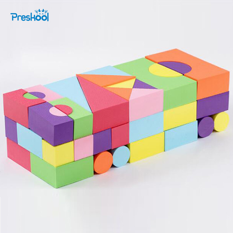 Baby Toys Building Blocks Eva Foam Non-Toxic Non-Recycled for Children Soft Color Bright Brinquedos Juguets 52 Pcs 48pcs good quality soft eva building blocks toy for baby