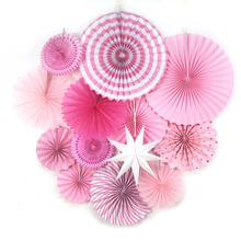 13pc Pink Paper Fan Rosettes Set Paper Star Photo Backdrop Hanging Decorations for Birthday Bridal Shower Wedding Nursery Decor
