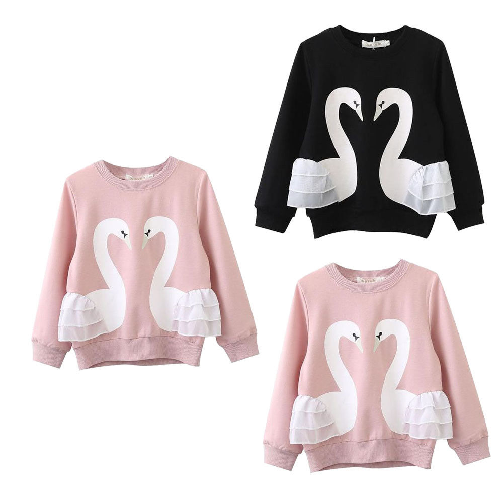 T-Shirt Blouse Long-Sleeve Girls Baby Kids Cotton Swan Top Tee 0-5T Pullover Pink/black