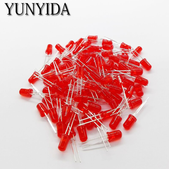 5mm LED   Red Yellow Green Blue White Orange  Light Emitting  Diode FREE SHIPPING   100PCS/LOT