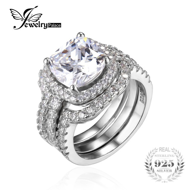 JewelryPalace Cushion 5ct CZ 3 Pc Wedding Band Stackable Halo Solitaire Engagement Ring Bridal Sets 925 Sterling Silver Jewelry