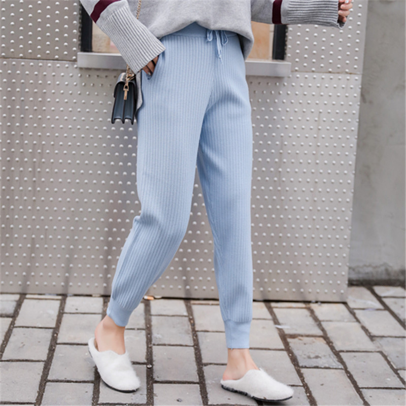 Mid Waist Knitted Harem Pants Women Trousers Drawstring Skinny Pants Pockets  Knitted Striped Sweatpants Pantalon Femme 2019