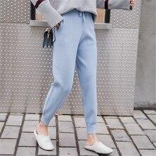 Średnio wysoka talia dzianiny Harem spodnie damskie spodnie sznurkiem spodnie obcisłe kieszenie dzianiny w paski spodnie dresowe pantalon femme 2019