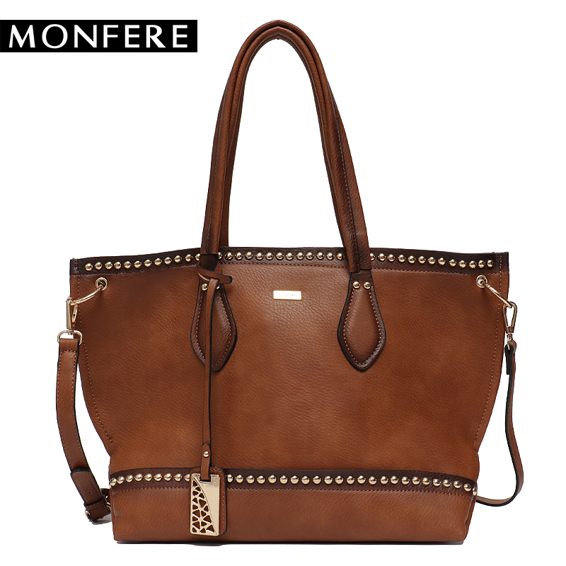 MONFERE Large Casual Women Tote Bags female Faux leather Fashion Rivets Zipper Crossbody Strap handbags Top-handle Shoulder Bags