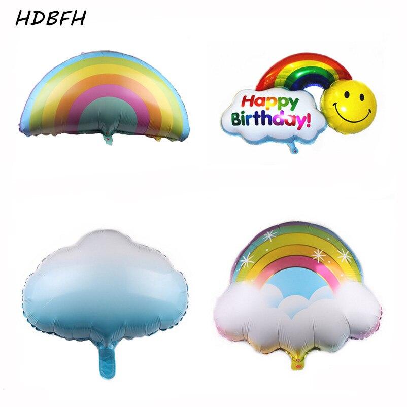 Cloud Smiley Rainbow Aluminum Balloon Birthday Party Festival DIY Decor Supplies