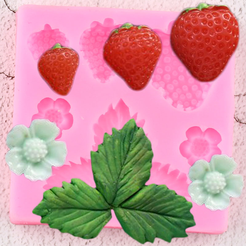 3D Strawberry Silicone Molds Flower Leaf Fondant Mold DIY Wedding Cake Decorating Tools Candy Clay Chocolate Gumpaste Mould