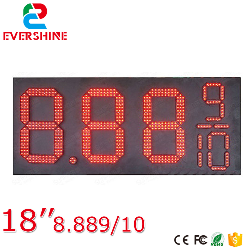 18'' red 7 Segment Oil and Gas fuel/diesel 8.889/10 digital numbers led gas/oil/petrol station price display sign board screen цена и фото