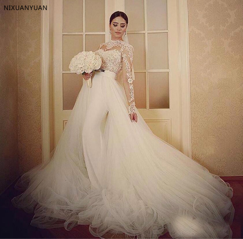 Sexy Lace Top Long Sleeves Mermaid Wedding Dress 2020 with Detachable Court Train Bridal Gowns Hollow Back Vestidos De Noiva