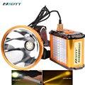 Cree xhp70.2 faro led luz blanca y amarilla opcional incorporado 12 baterías de litio linterna de carga directa led
