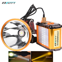 Cree xhp70.2 led 전조등 흰색과 노란색 빛 옵션 내장 12 리튬 배터리 직접 충전 손전등 led