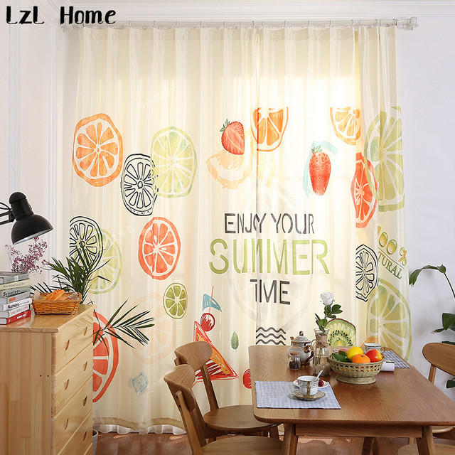 LzL Home Lemon Orange Window Curtains For Living Room Ready Made Modern  Style Fruit Blackout Curtains