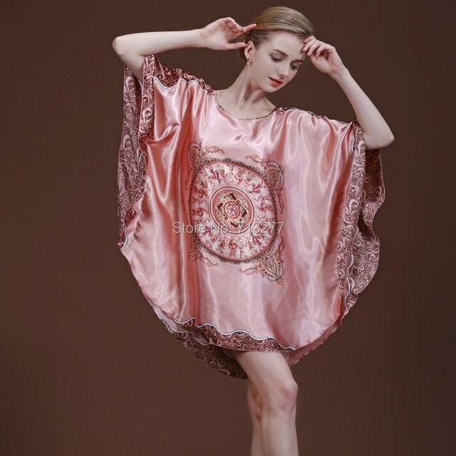 SSH004 LadySexy Rayon Silk Night Dress Plus Size Nighties Round Neck Nightgown Loose Batwing Sleeved Nightdress Lace Sleepwear