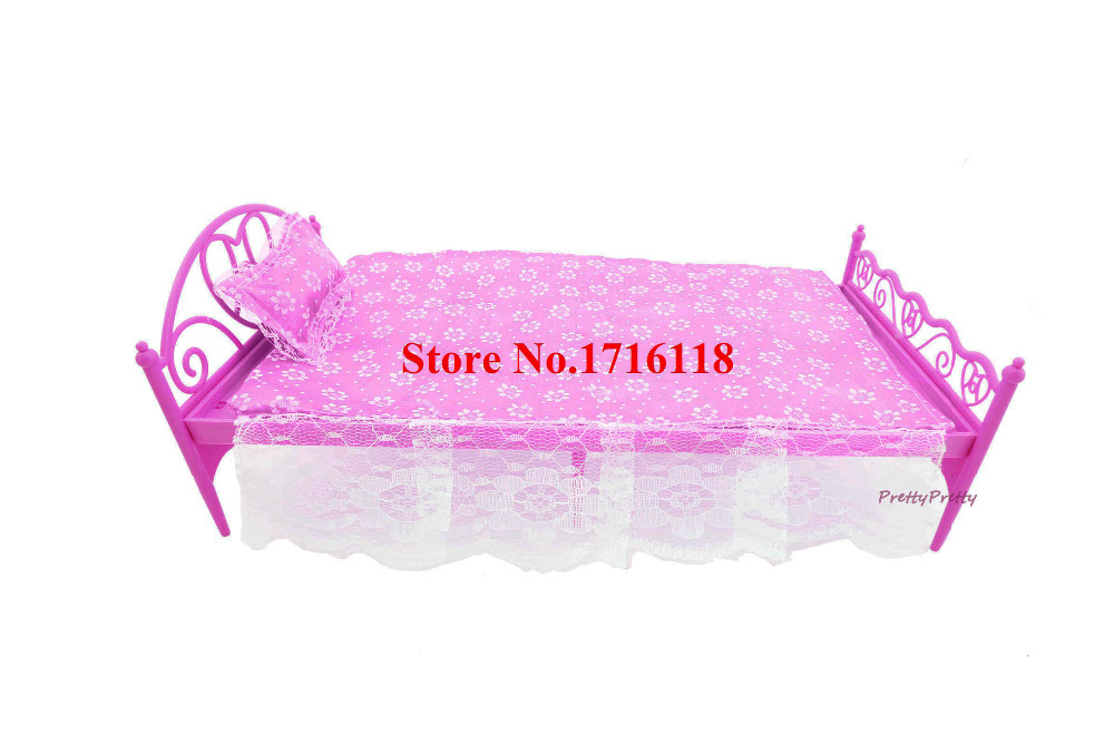 1 Set Fashion Pink Nightgown & Single Plastic Bed Dollhouse Bedroom Furniture Doll Accessories For Barbie Dolls Baby Toy