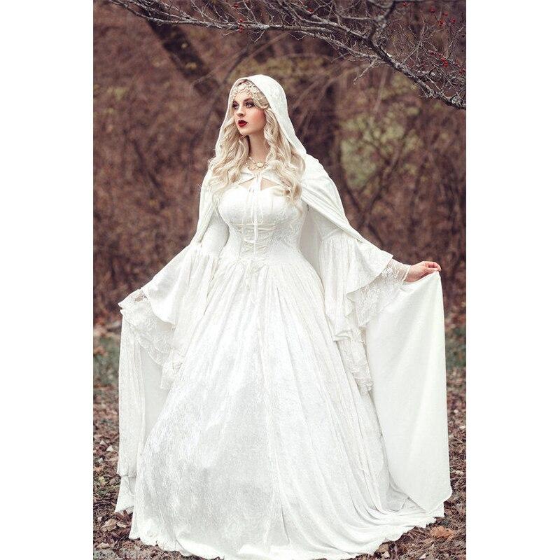 Exceptionnel Vintage Renaissance Blanc Robe De Mariage Celtique Médiévale  CT47