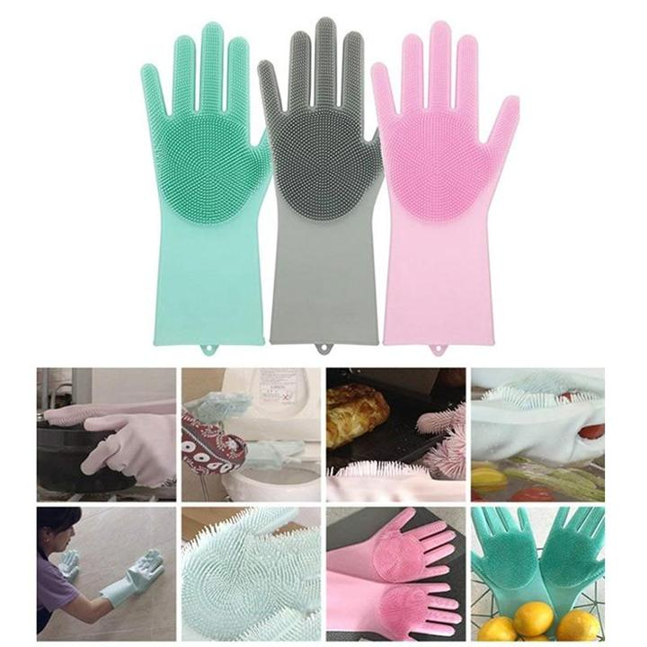 Un par de guantes mágicos de goma de silicona para lavar platos