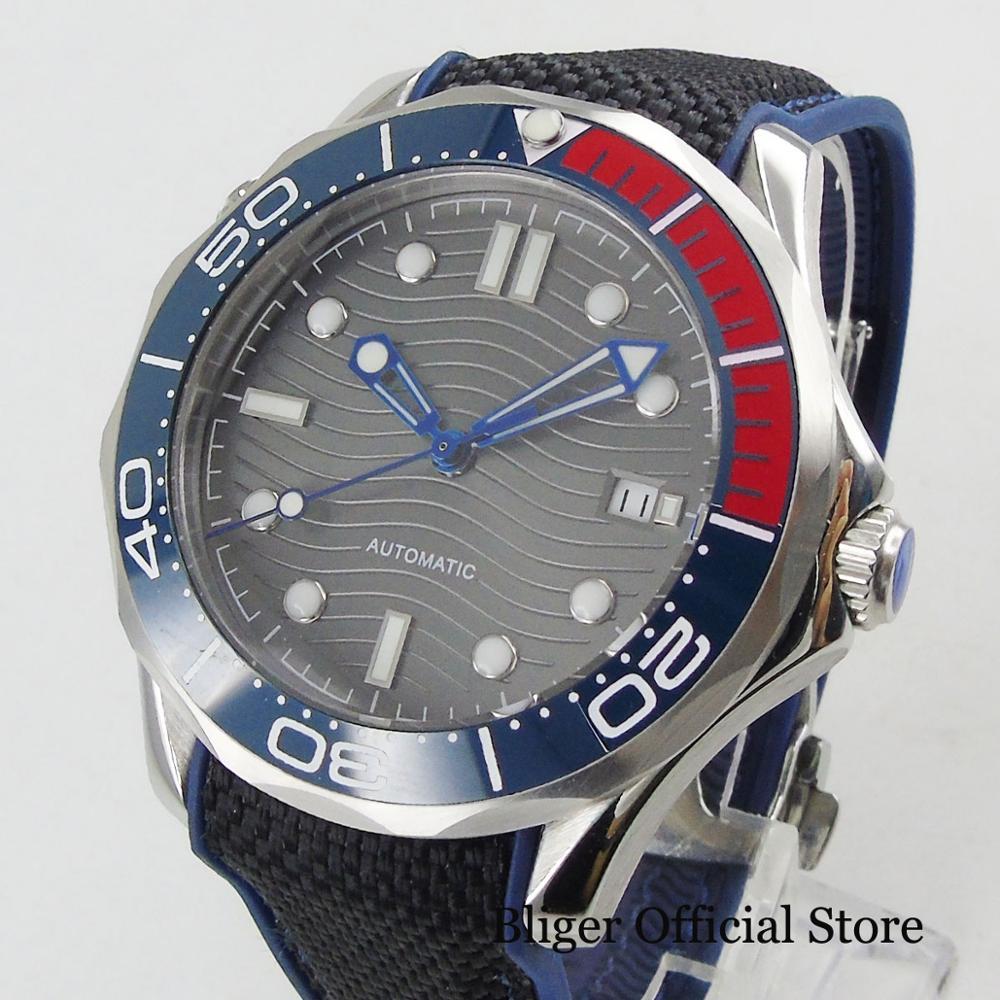 BLIGER Style militaire 41mm verre saphir avec lunette en céramique bracelet en caoutchouc montre bleue pointeur bande noire