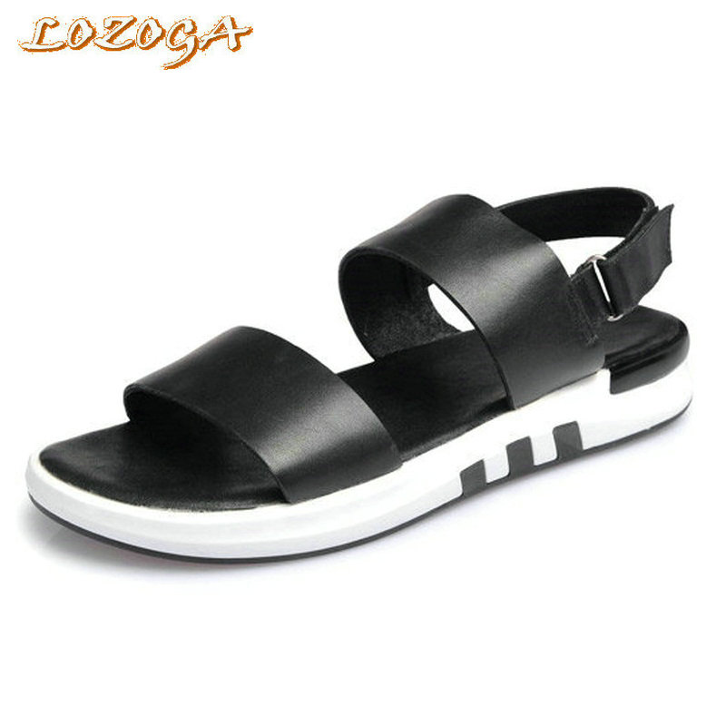 New Brand Men font b Sandals b font Genuine Leather With High Quality Mens Leisure Beach