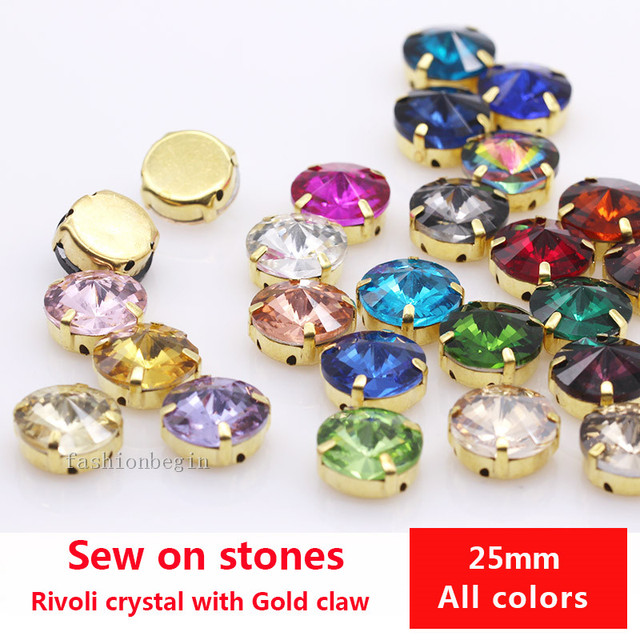 6p 25mm rivoli sew on crystal big stone Glass Flatback gold claws rhinestones  jewelry making beads craft for shoes clothes Dress 2e2a6c2988c2