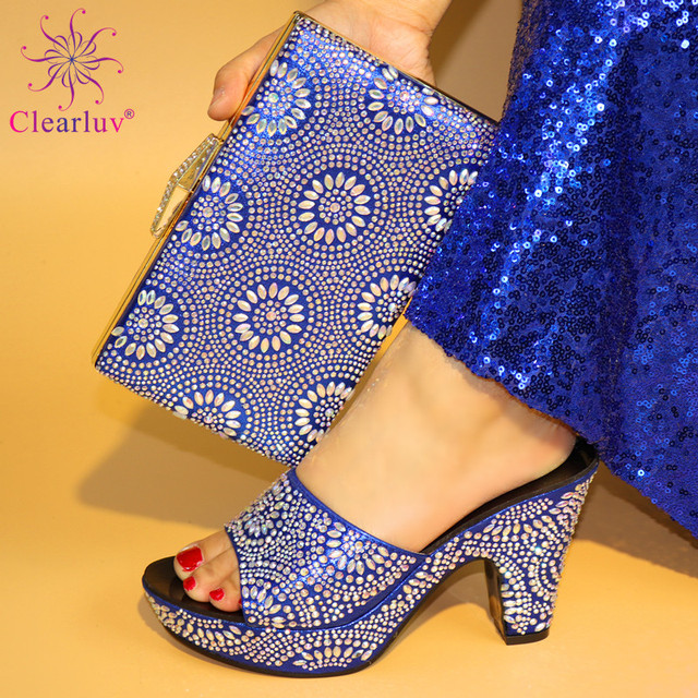 2018 Blue Color Italian Shoes with Matching Bag Set Decorated with  Rhinestone Nigerian Shoes and Bag Set for Wedding Italy Shoe b996a6a14873