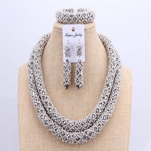 Image 2 - 3 Layers African jewelry sets Wedding Silver Crystal Beads Jewelry Sets Elegant Nigerian Wedding Necklace Jewelry Set Brand New
