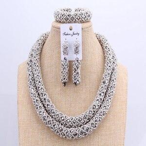 Image 2 - 3 schichten Afrikanischen schmuck sets Hochzeit Silber Kristall Perlen Schmuck Sets Elegante Nigerian Hochzeit Halskette Schmuck Set Marke Neue