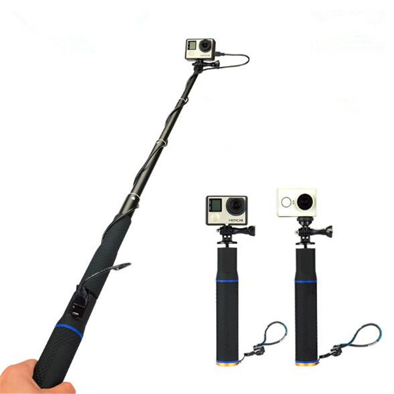 2 in 1 Handheld 5200mah Camera Battery Power Bank + Extendable Selfie Stick Monopod for GoPro Hero5/4/3+