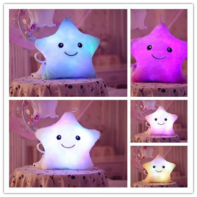 Música creativa Almohada Luminoso Colorido Noctilucentes Luz Estrella Peluches Cojín Kawaii Cojín Amantes Romántico Almohada Música