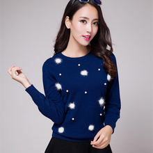 2017 New Autumn And Winter Fashion Women s Round Neck Pullover Pure Cashmere Sweater Beaded Snowflake
