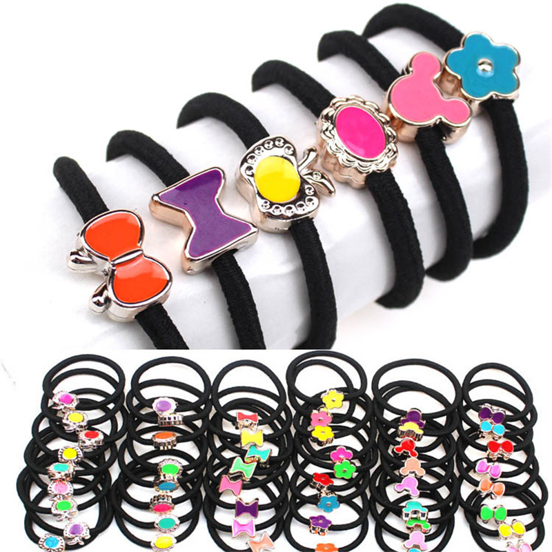 2017 Fashion Women Elastic Hair Bands Black Scrunchy Headband Bow Ring Girl Hair Accessories Rubber Gum Ornaments 10Pcs Hairband 50pcs black hairband hair elastic bands for ladies elastic ring hair scrunchy tie gum headbands girls hair accessories for women