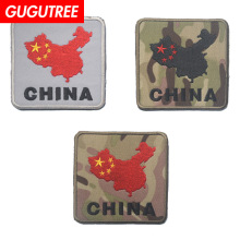 GUGUTREE embroidery HOOK&LOOP chinese map patches china badges applique for clothing AD-208