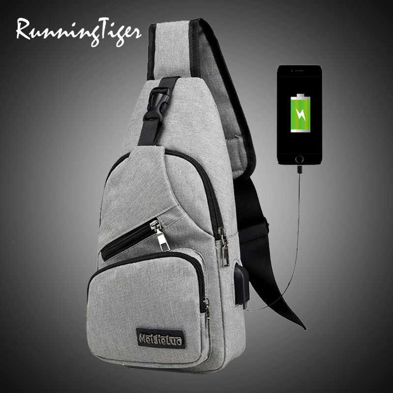 Crossbody Bag Women Short Trip Travel Sling Shoulder USB Charge Chest Bag for Men Casual Multifunction Waterproof 2019 Hot Sale