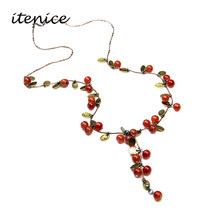 2018 New Trendy Necklace & Pendants For Women Charm Cute Cherry Elegant Sweet Fashion Female Jewelry Necklace Sweater Summer(China)