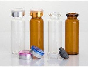 Image 2 - 50 Uds./lot4ml 5ml 6ml 8ml 10ml 12ml 15ml 20ml 30ml ámbar claro Vial inyectable de cristal & Flip Off Cap botellas de Medicina de vidrio pequeñas