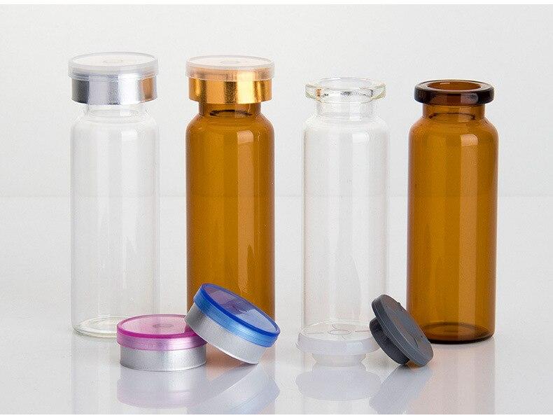 Image 2 - 50 pièces/lot4ml 5ml 6ml 8ml 10ml 12ml 15ml 20ml 30ml flacon en verre transparent pour Injection ambre et bouchon amovible petites bouteilles de médicaments en verreGourdes   -