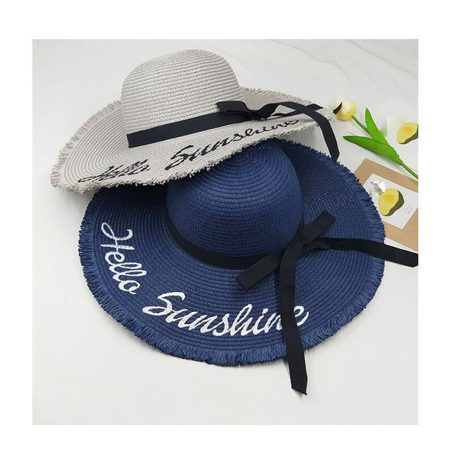 995395a58 US $7.1 29% OFF New summer Hello Sunshine Sequin letter wide brim sun hats  for women Beach vacation fashion girls straw hat-in Sun Hats from Apparel  ...