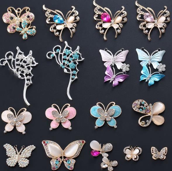 butterfly diamond alloy buttons animal metal rhinestone button bag shoes wedding embellishment Scrapbooking accessories