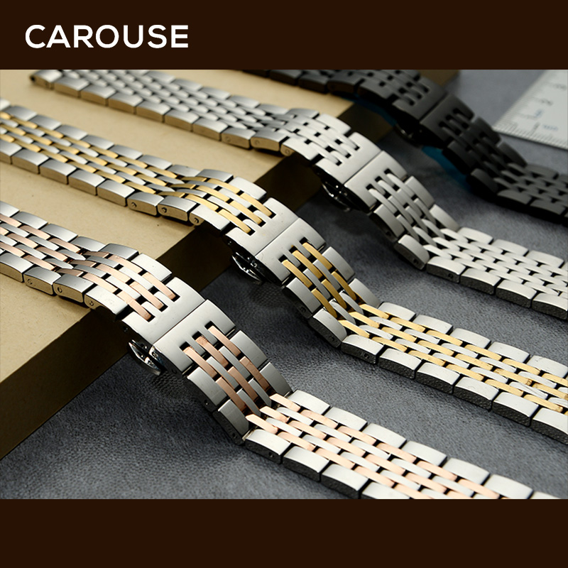 Image 2 - Carouse Stainless Steel Metal Watchband Bracelet 12mm 14mm 16mm 18mm 20mm 22mm Watch Band Wrist Strap Black Silver Rose Gold-in Watchbands from Watches