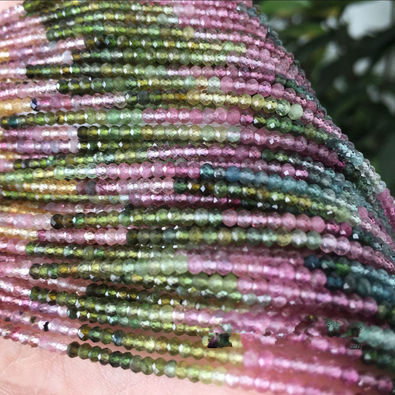Tourmaline roundel faceted 2-3mm 15