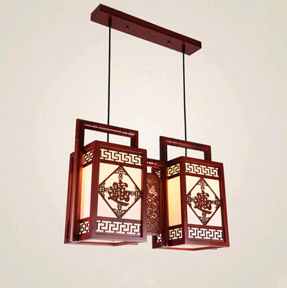 Chinese antique carved bring in wealth pattern wood art Pendant Lights Bronzing lotus pattern double lamps for bar&porch MYR030