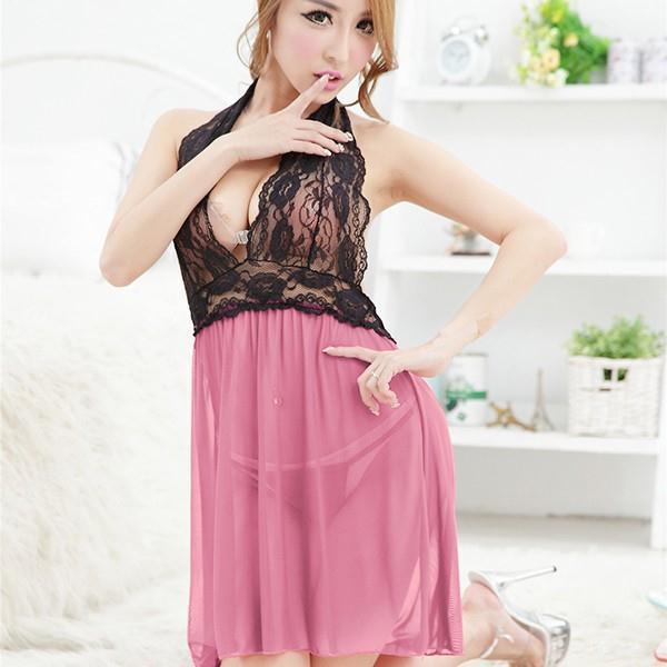 Women Sexy Lingerie Underwear Lace Nightwear Babydoll Sleepwear Dress+G-string Set