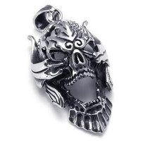 Large Tribe Stainless Steel Gothic Skull Mens Pendant Necklace