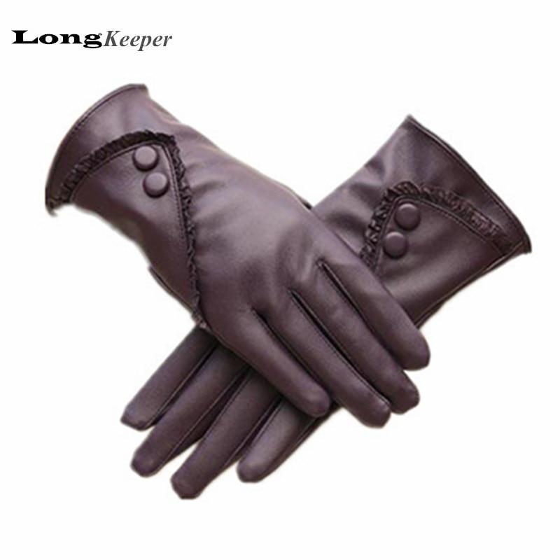 LongKeeper Ladies' Leather Gloves 2016 Fashion Women